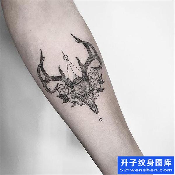 手臂兽头鹿头纹身图案大全
