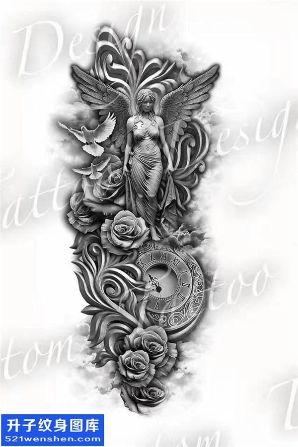 欧美纹身手稿图案 天使,玫瑰花,鸽子,钟表图片