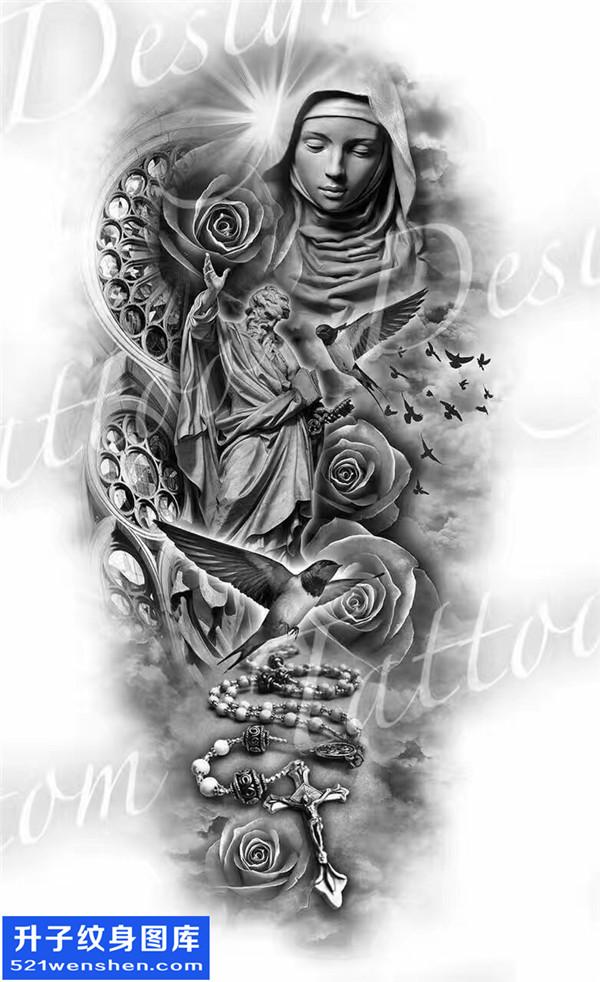 耶稣圣母十字架玫瑰花纹身手稿图案