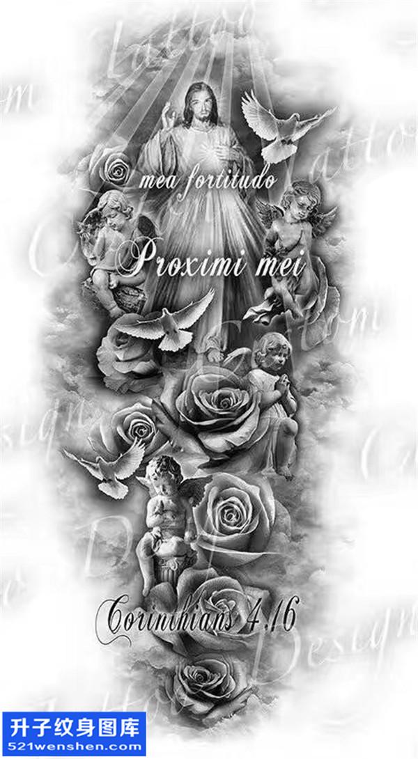 耶稣丘比特纹身手稿图案
