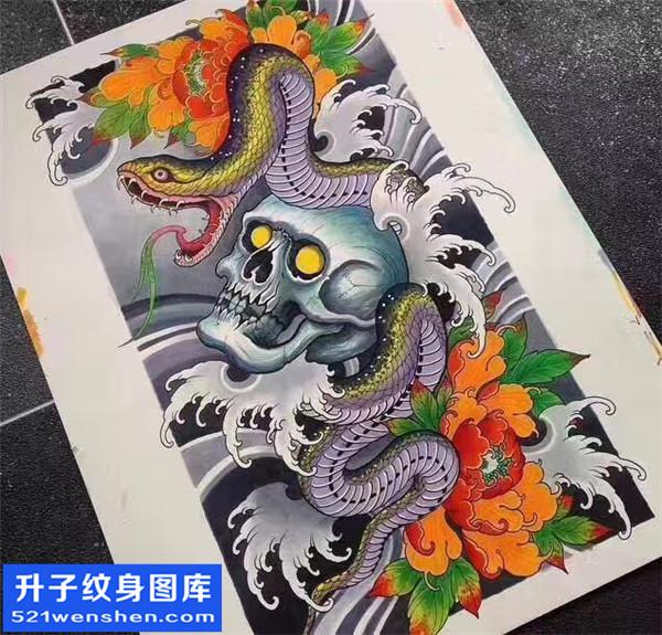嘎巴拉荷花纹身手稿图案大全 嘎巴拉纹身寓意            蛇