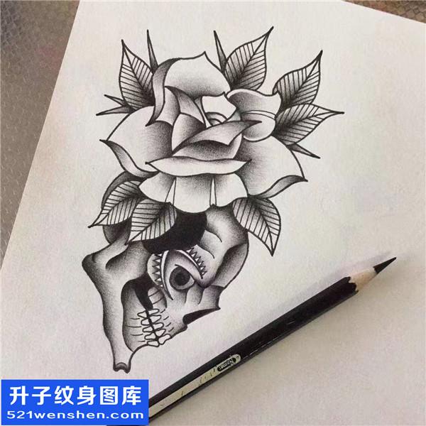骷髅玫瑰纹身手稿图案大全