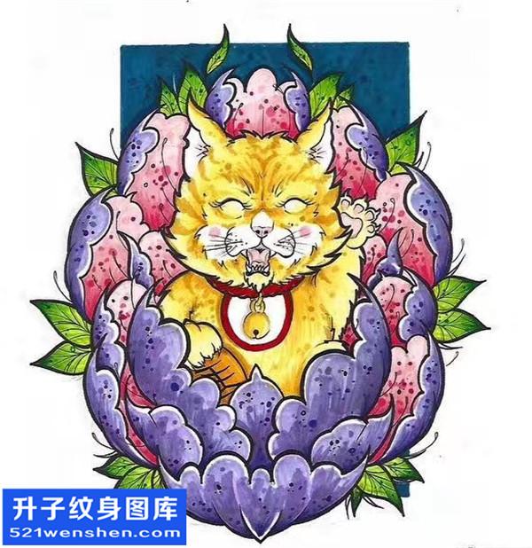 招财猫纹身手稿图案 招财猫纹身意义