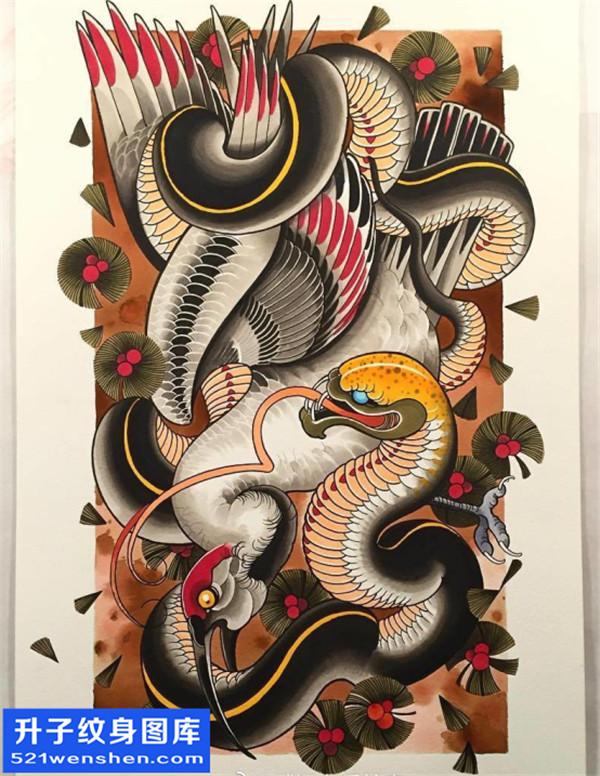 丹顶鹤蛇纹身手稿图案大全 new school纹身图片手稿