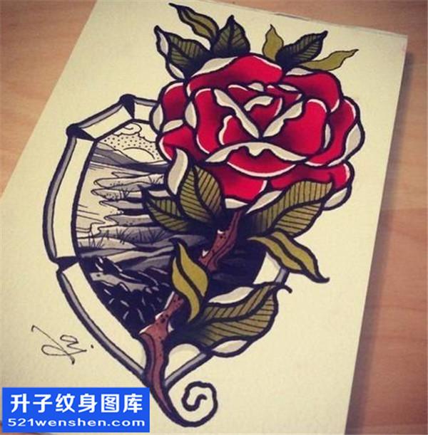 欧美玫瑰花纹身手稿图案