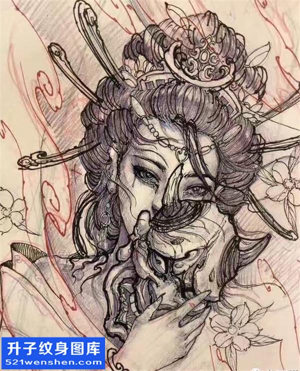 艺妓纹身手稿图案大全 - 艺妓纹身寓意