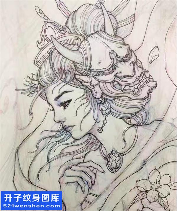 艺妓纹身手稿图案大全 艺妓纹身图片