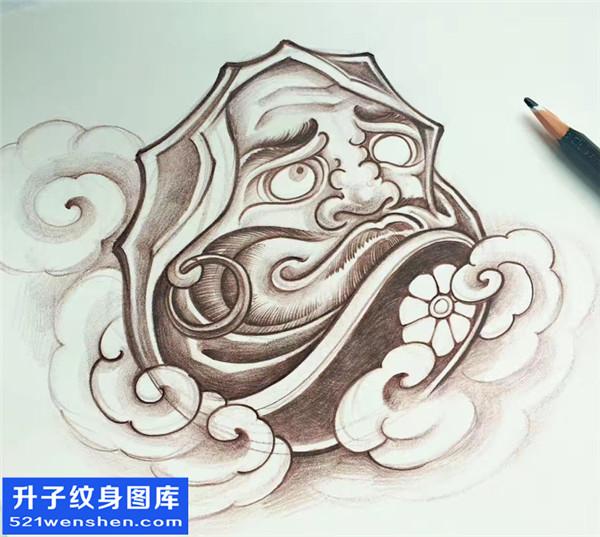 招财猫达摩纹身手稿