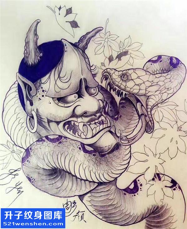 般若蛇纹身手稿图案大全