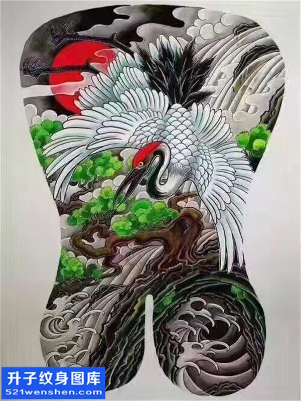 仙鹤纹身手稿图案大全 满背纹身