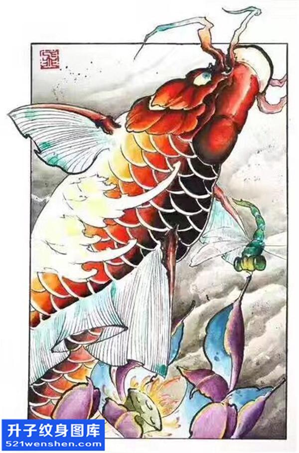 鲤鱼荷花纹身手稿图案大全