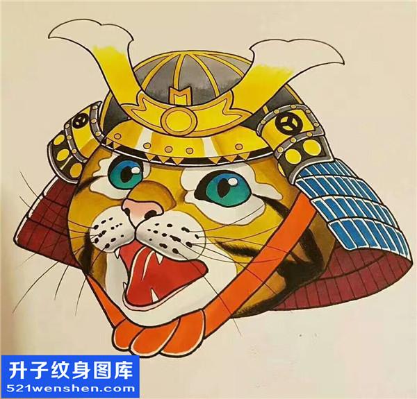猫头武士纹身手稿图案大全