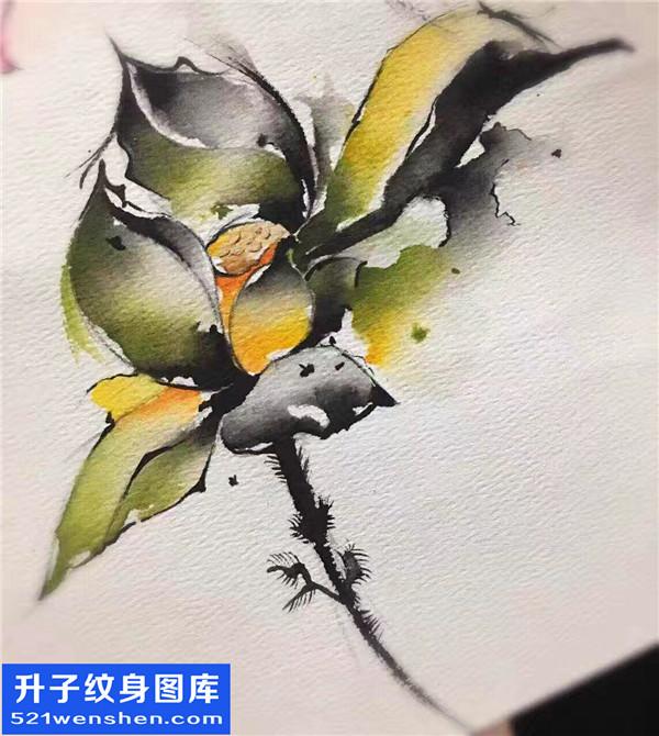 泼墨花纹身手稿图案