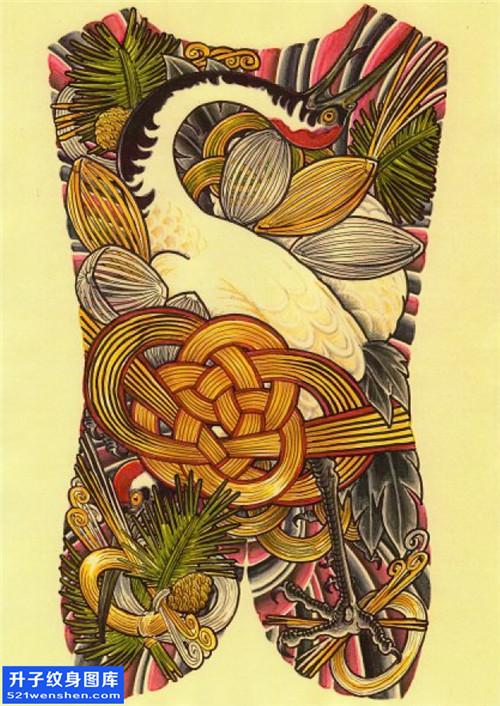 满背鹤纹身手稿图案大全