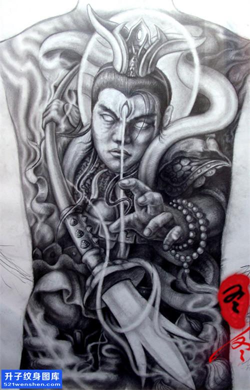 满背二郎神纹身手稿图案