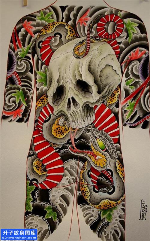 满背骷髅蛇纹身手稿图案大全
