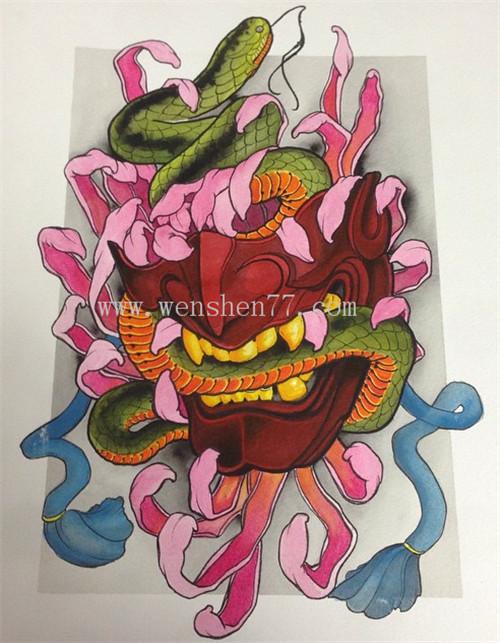 般若蛇纹身手稿图案