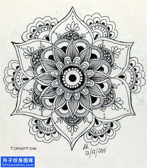 曼陀罗纹身手稿图案 曼陀罗纹身图片图片