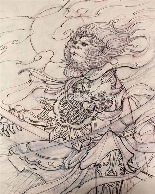 齐天大圣 孙悟空纹身手稿图案