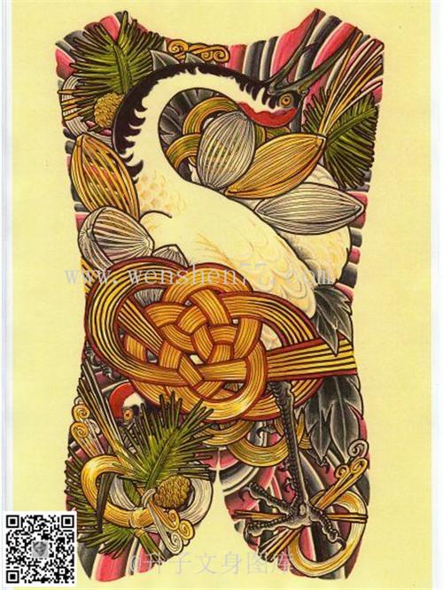 满背丹顶鹤纹身手稿图案