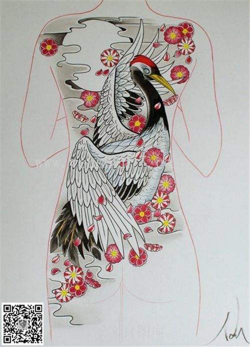 满背丹顶鹤纹身手稿图案 大坪纹身店