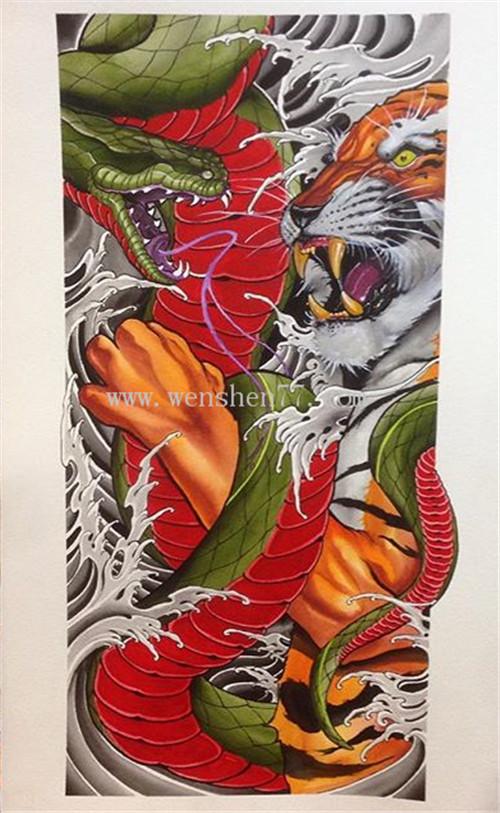 蛇虎纹身手稿图案大全