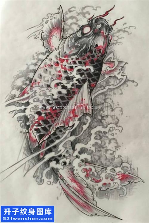 鲤鱼纹身 鲤鱼纹身手稿图案大全