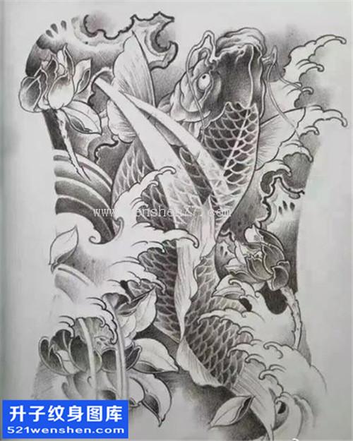 鲤鱼纹身手稿图案 重庆鲤鱼纹身