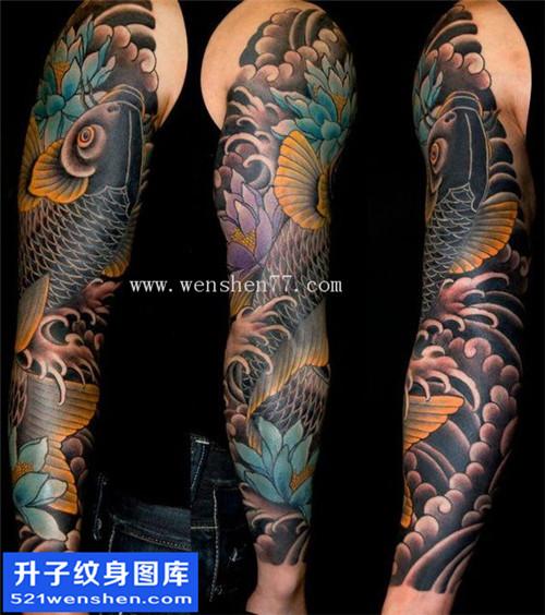 花臂鲤鱼纹身图案大全