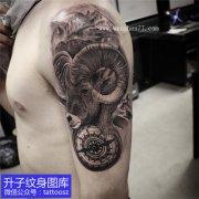 男性大臂外侧黑灰羊头钟表纹身图案