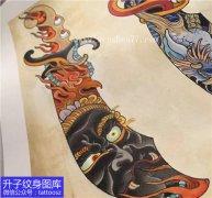 欧美 彩色小刀具不动明王纹身手稿图案