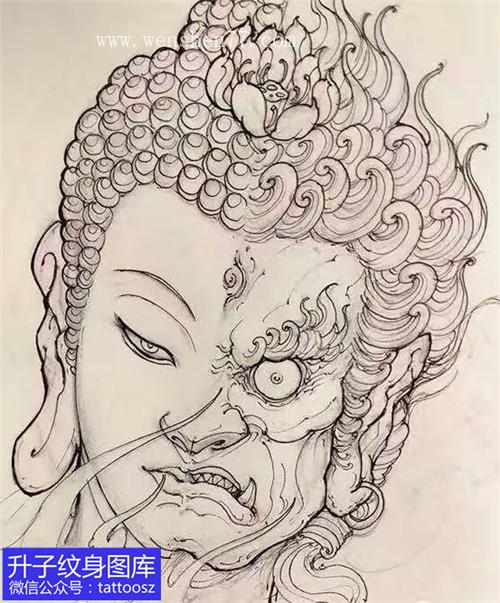 佛魔纹身手稿图案